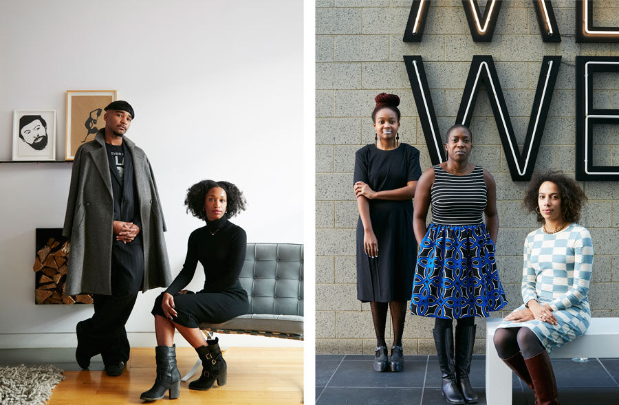 Left: Portrait of Jacolby Satterwhite and Tschabalala Self at the home of Corey Baylor by Emily Johnston for Artsy. Right: Portrait of Kimberly Drew, Lauren Haynes, and Amanda Hunt, with Glenn Ligon's Give Us A Poem, 2007, at the Studio Museum in Harlem, New York, by Emily Johnston for Artsy.