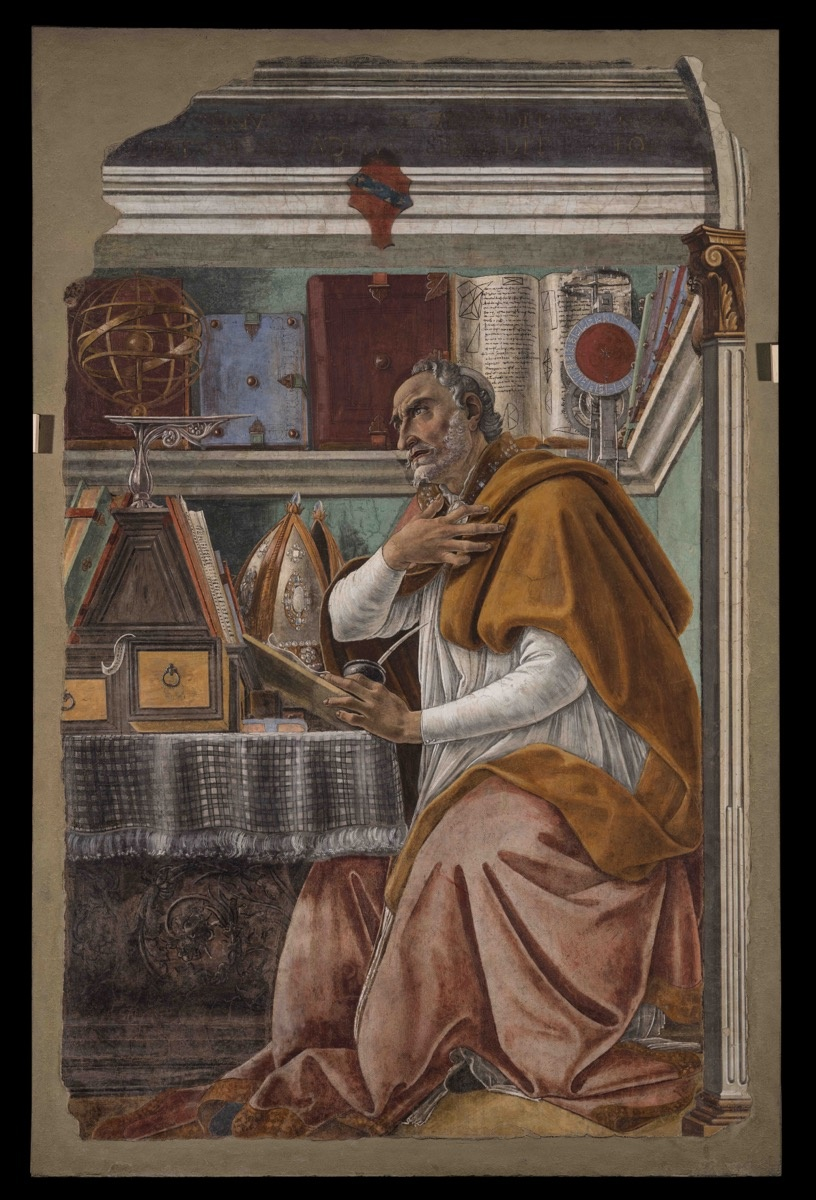 Sandro Botticelli, Saint Augustin in his Study, ca. 1480. Chiesa di San Salvatore in Ognissanti, Florence. Image courtesy of the Muscarelle Museum of Art & Museum of Fine Arts Boston.