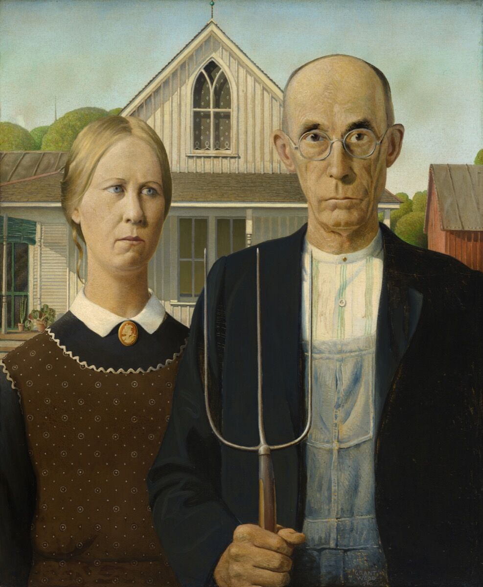 Grant Wood, American Gothic, 1930. Art Institute of Chicago. © Figge Art Museum, successors to the Estate of Nan Wood Graham/Licensed by VAGA, New York, NY. Photo courtesy of Art Institute of Chicago/Art Resource, NY.