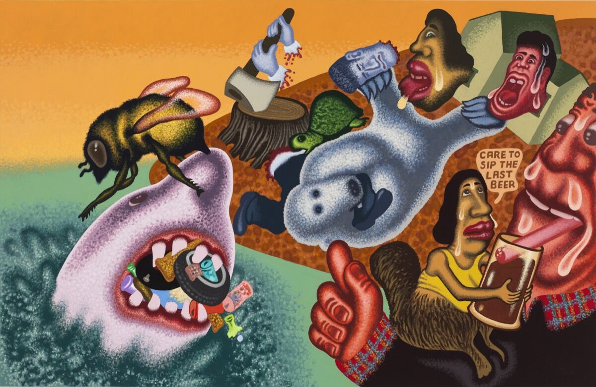 """Peter Saul, """"Global Warming, the Last Beer, """" 2017. © Peter Saul. Courtesy of Mary Boone Gallery, New York."""
