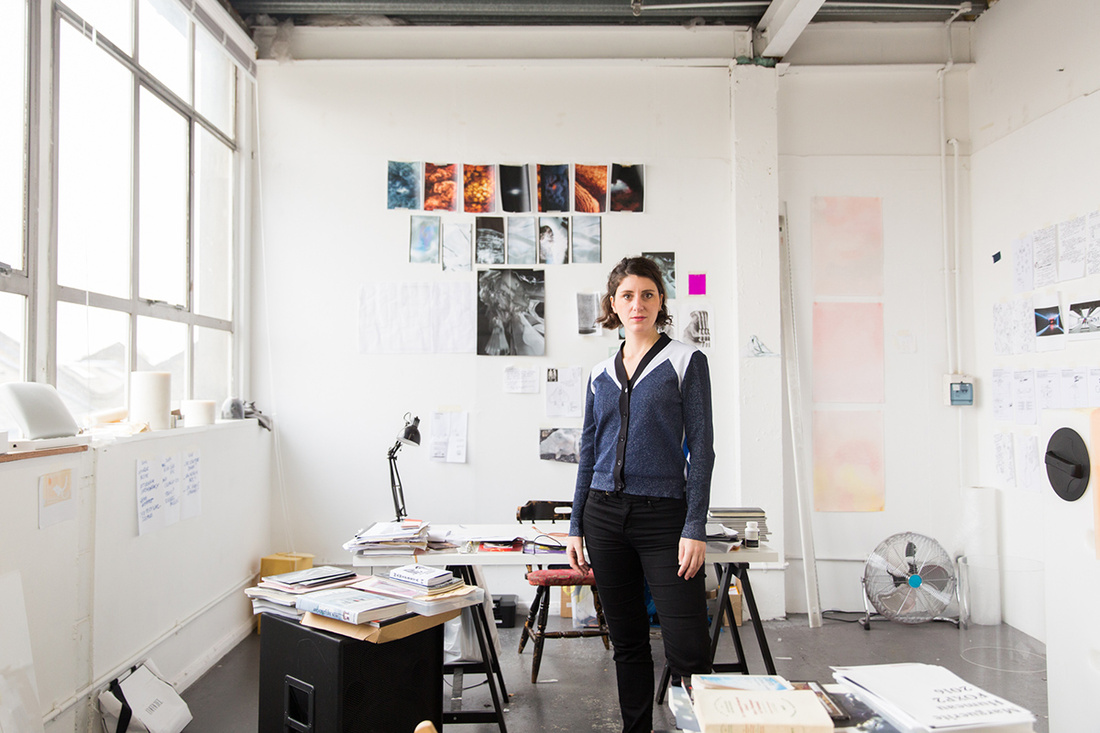 Portrait of Marguerite Humeau in her London studio by Kate Berry for Artsy.