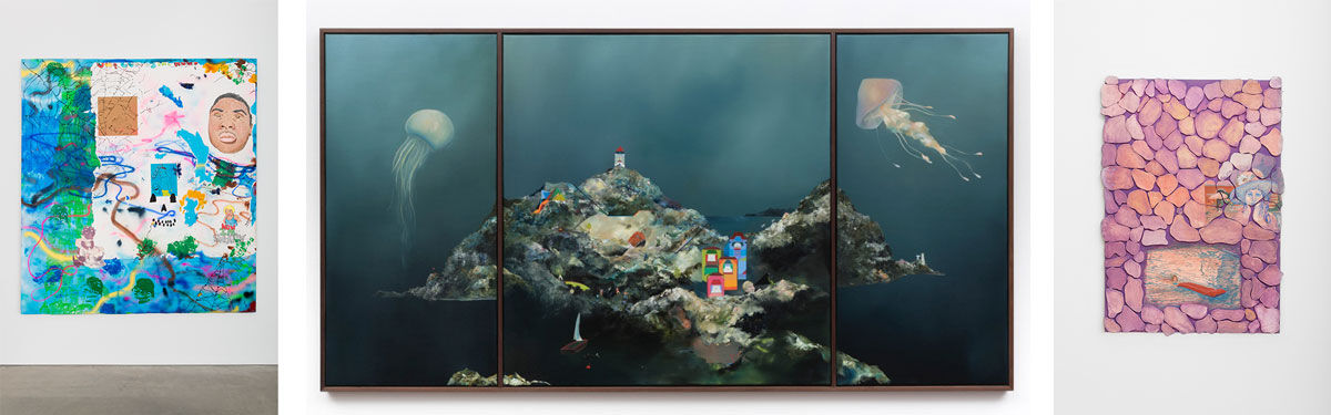 David Leggett, We Made It, 2014. Courtesy of Shane Campbell Gallery, Chicago; Center: Hannes Michanek, Celestial navigation, 2016. Courtesy of Galerie Parisa Kind, Frankfurt; Right: Melanie Ebenhoch, I feel like David, 2016. Courtesy of HESTER, New York.