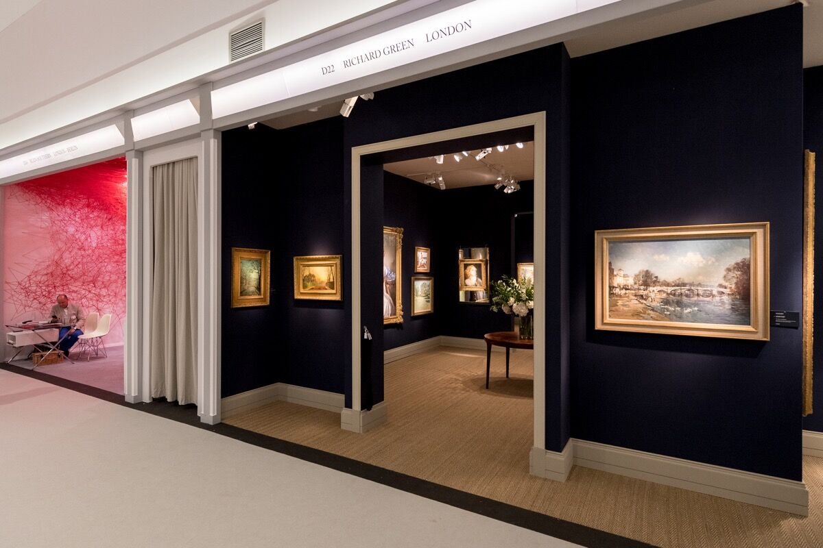 Left to right: Installation view of Blain Southern and Richard Green's booths at Masterpiece London, 2018. Photo by Ben Fisher. Courtesy of Masterpiece London 2018.