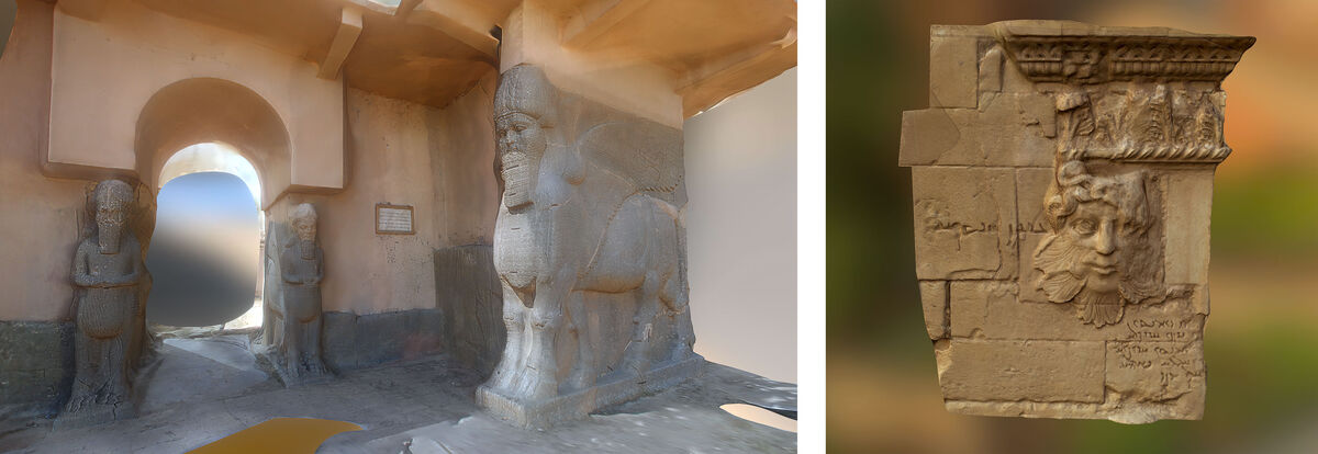 Left: Nimrud Entrance, Nimrud, Iraq; Right: Hatra Relief, Nimrud, Iraq. Images courtesy of Rekrei.