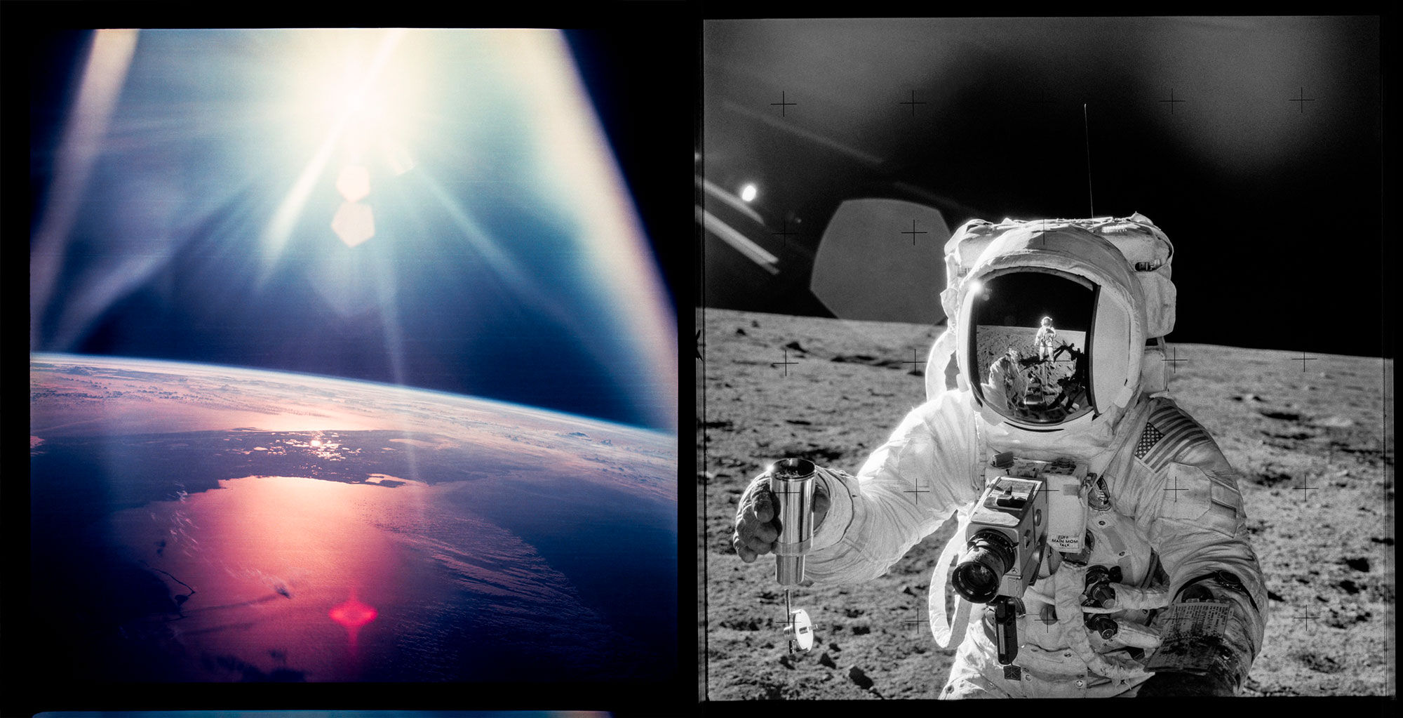Left: A mesmerizing reflection of the sun shapes Florida's silhouette, Apollo 7; Right: Charles Conrad Jr. and Alan L. Bean photograph each other during their soil research, Apollo 12. Images from the book Apollo VII–XVII. Courtesy of NASA.