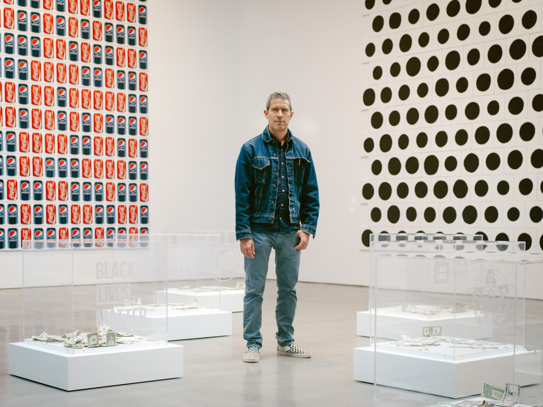 Portrait of Jonathan Horowitz at the Brant Foundation by Cole Wilson for Artsy.
