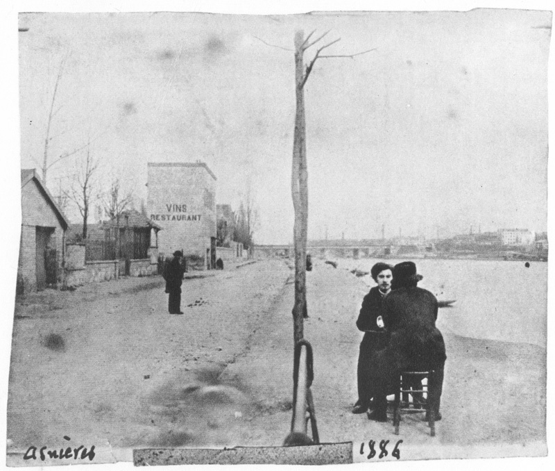 Photo of Émile Bernard and Vincent van Gogh on the banks of the Seine in Asnières, 1886. Image via Wikimedia Commons.