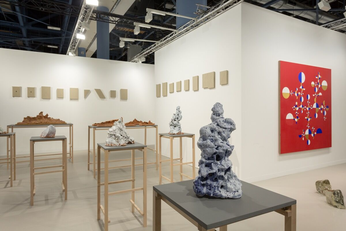 Installation view of kurimanzutto's booth at Art Basel in Miami Beach, 2016. Photo by Alain Almiñana for Artsy.