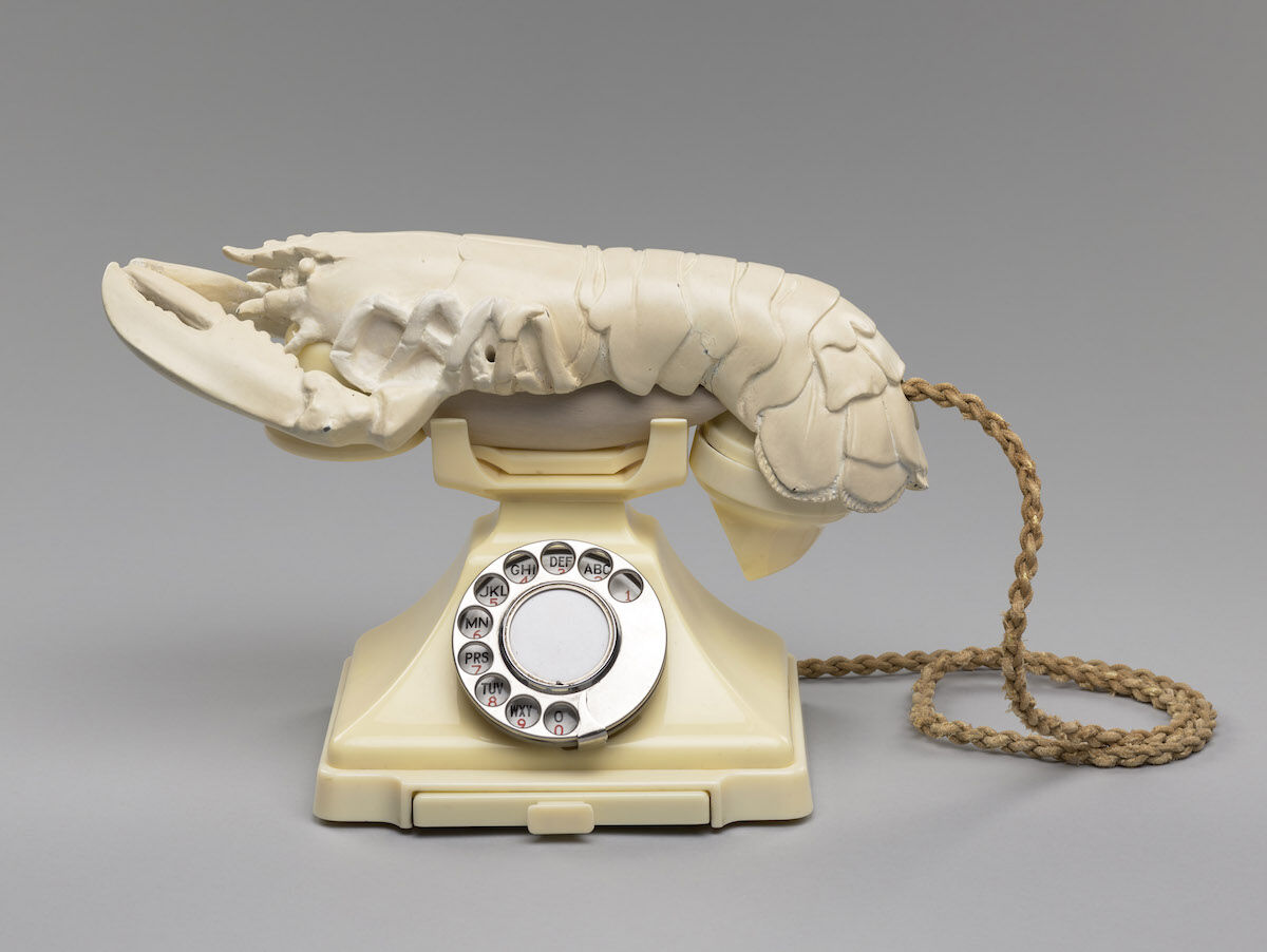 Salvador Dalí and Edward James, Lobster Telephone, 1938, painted plaster and Bakelite telephone, purchased by the Henry and Sula Walton Fund, with assistance from the Art Fund, 2018. Courtesy the National Galleries of Scotland.