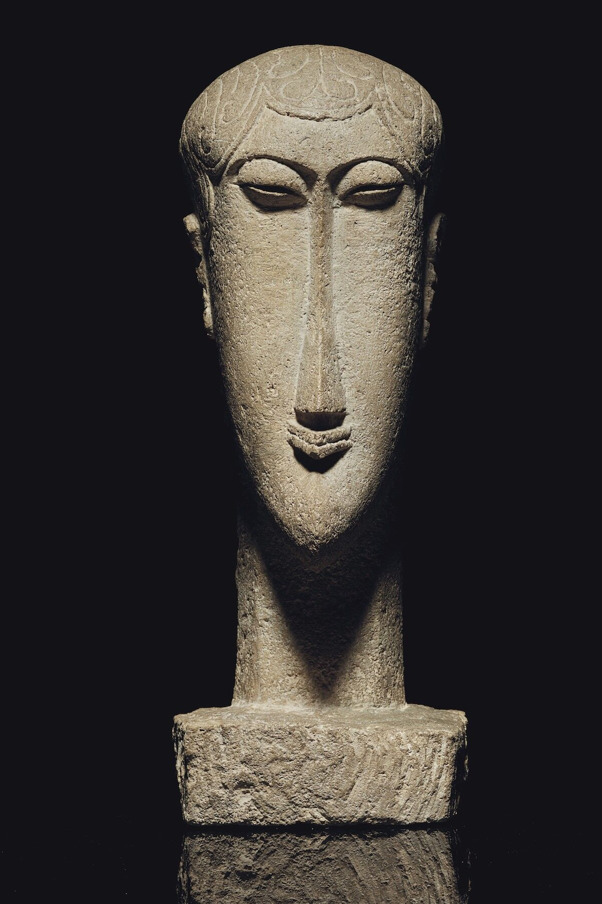 Amedeo Modigliani, Tête, ca. 1911–12, limestone. Est. $30 million–$40 million. Courtesy Christie's.