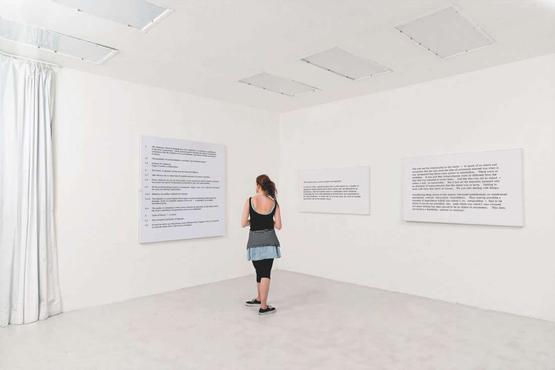 ART & LANGUAGE, Paintings I, No. 2, Paintings I, No. 7, Paintings I, No. 8, (1966). Installation view, MADE IN ZURICH, Galerie Bernard Jordan, Switzerland, curated by jsvcPROJECT, 2014. Inkjet on paper mounted on wood panel, variable dimensions.