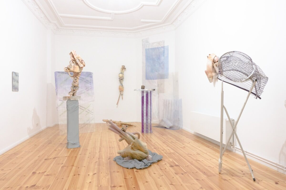 "Installation view of ""Panta rhei"" at Aunt Linda, featuring work by Julia Colavita and Michael Rocco Ruglio-Misurell. Photo courtesy of Aunt Linda."