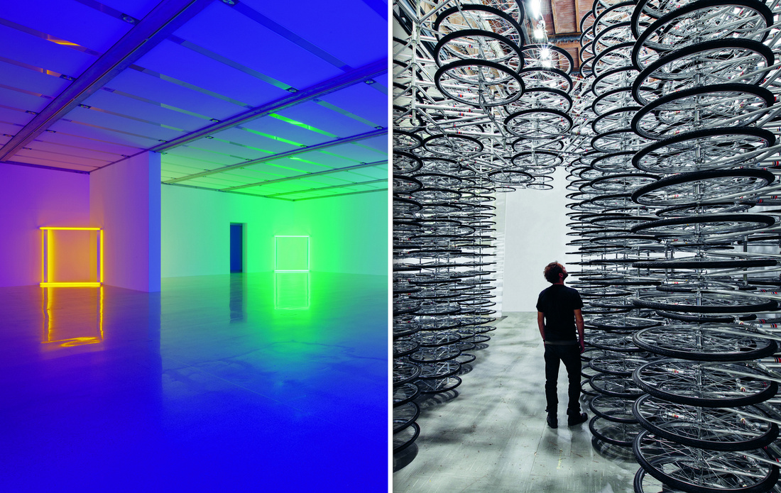 Left:Dan Flavin,European Couples,1966-1971. CourtesyDavid Zwirner. Right:Ai Weiwei,Stacked,2012. CourtesyGalleria Continua and the artist