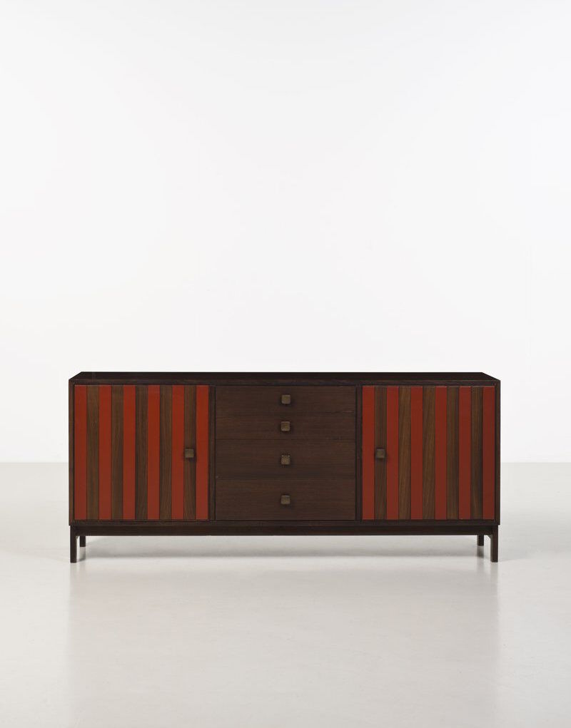Ettore Sottsass [Italian, 1917-2007] with Poltronova Sideboard, 1962. Lacquered rosewood and bronze. Courtesy of Friedman Benda & Ettore Sottsass Studio