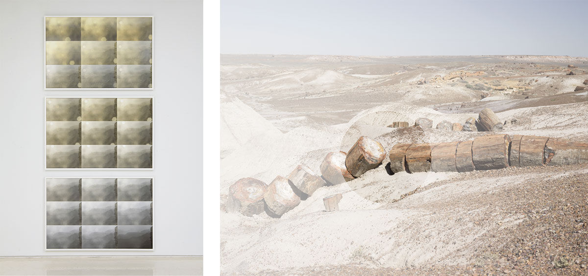 Left: Sharon Harper, Watching the Grand Canyon for an Hour at Sunrise  (5:15 AM – 6:15 AM)  June 7, 2013.  Right: Sharon Harper, Glacial Erratics, 2016. Images courtesy of the artist and Rick Wester Fine Art.