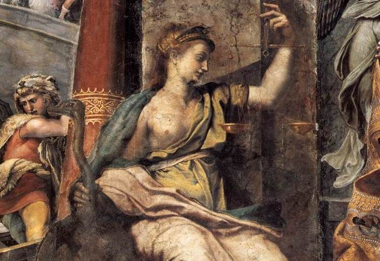The allegory of Justice in the Room of Constantine. Photo via Wikimedia Commons.