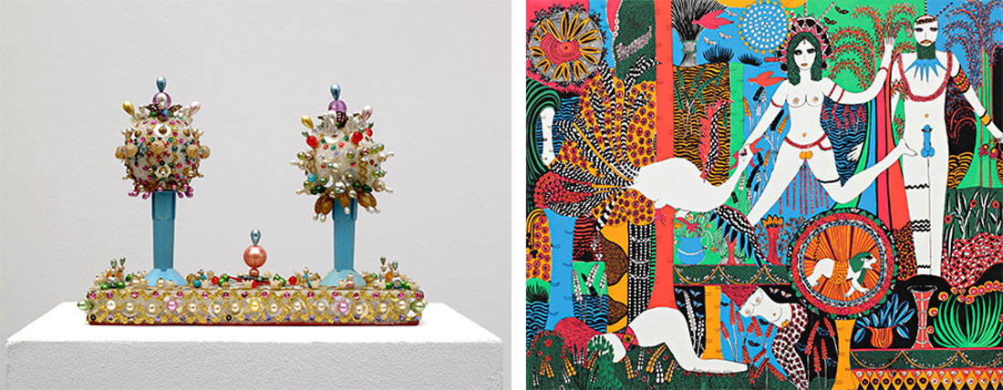 Left: Sarah Pucci, Twilight (1970s). Photo © Marc Domage. Courtesy of the artist and Air de Paris. Right: Dorothy Iannone, Flora and Fauna (1973).© All rights reserved. Courtesy of the artist and Air de Paris.