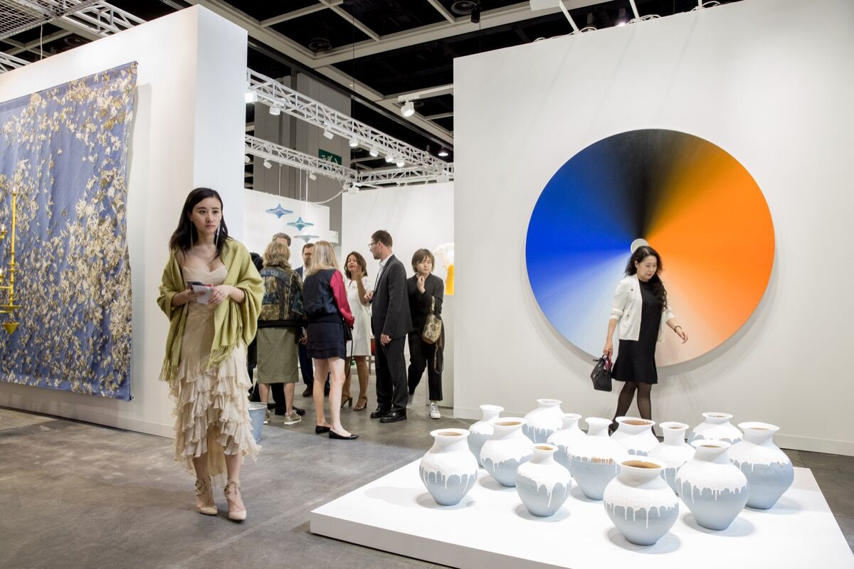 Installation view of neugerriemschneider's booth at Art Basel in Hong Kong, 2017. Courtesy of Art Basel.
