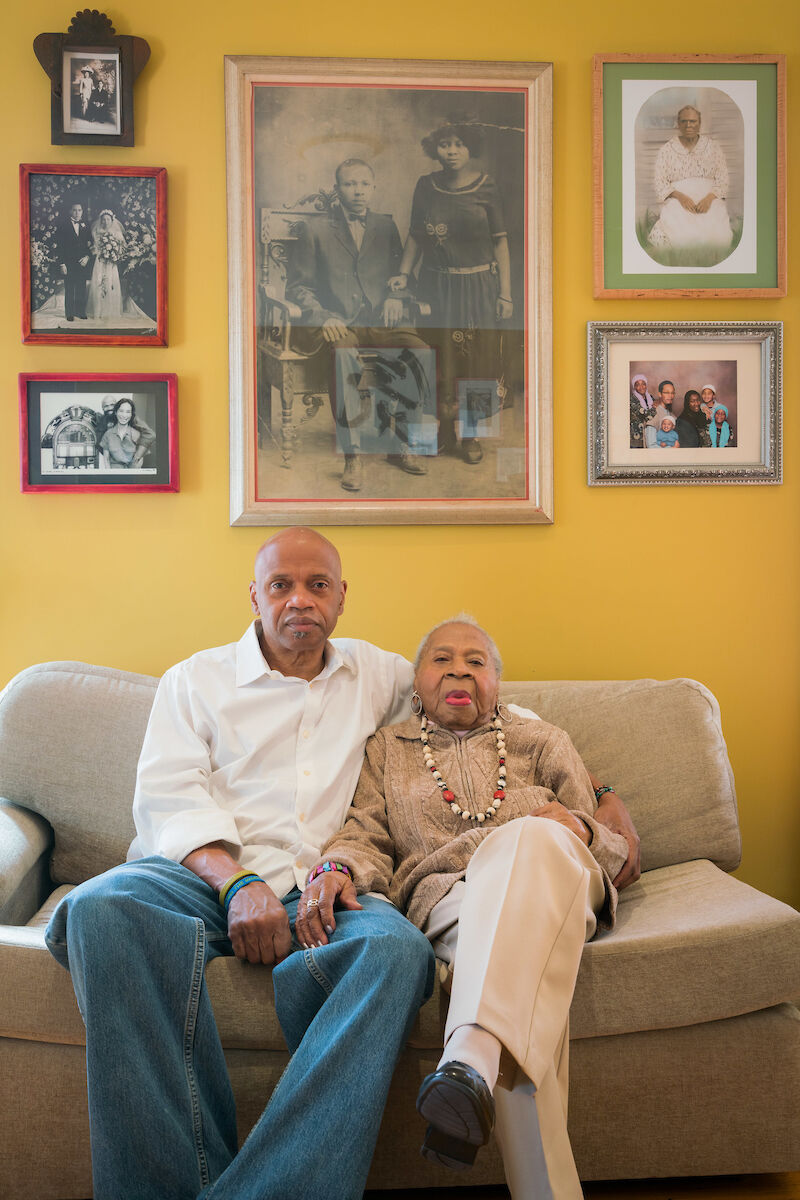 Tarabu Betserai Kirkland at home in Los Angeles with his mother, Mamie Lang Kirkland, 109, who fled Mississippi at age seven. 2017. Photo by Kris Graves for the Equal Justice Initiative.