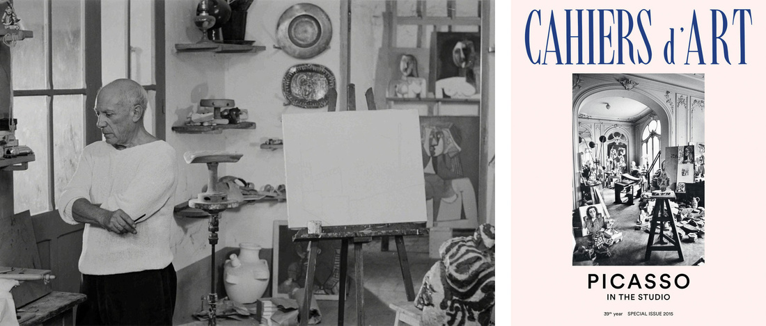 Left: Edward Quinn, Picasso in his Le Fournas studio at Vallauris. Right: © Cahiers d'Art, 2015. Courtesy of Cahiers d'Art.