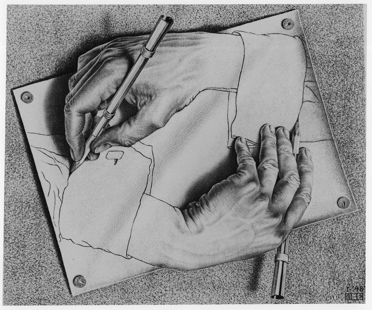 M.C. Escher, Drawing Hands. ©2017 The M.C. Escher Company, The Netherlands.