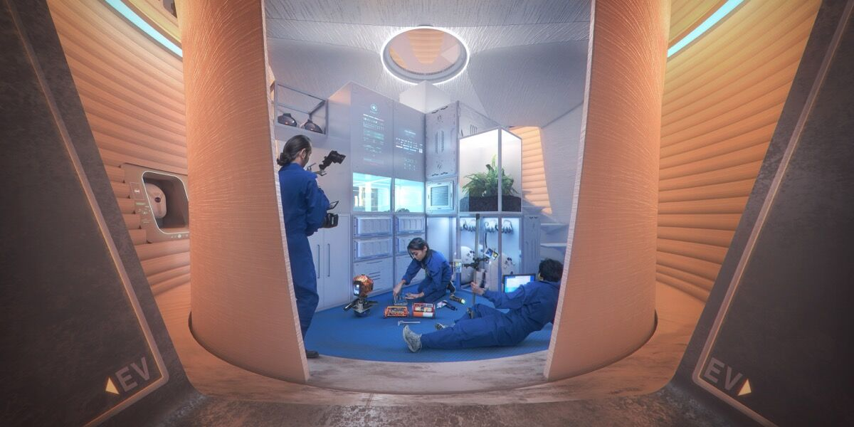 Interior view of 3D-Printed Mars Habitat. Courtesy of AI Space factory.