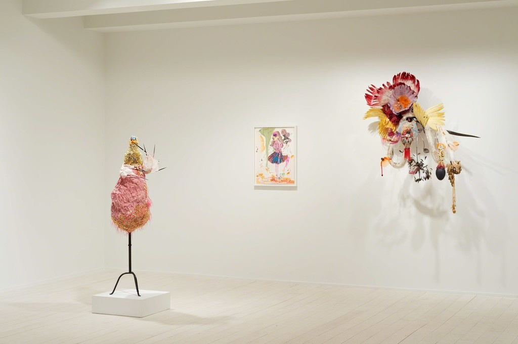 "Installation view of ""Rina Banerjee: Tropical Urban,"" Jacob Lewis Gallery, New York. © Rina Banerjee, photo courtesy Jacob Lewis Gallery."