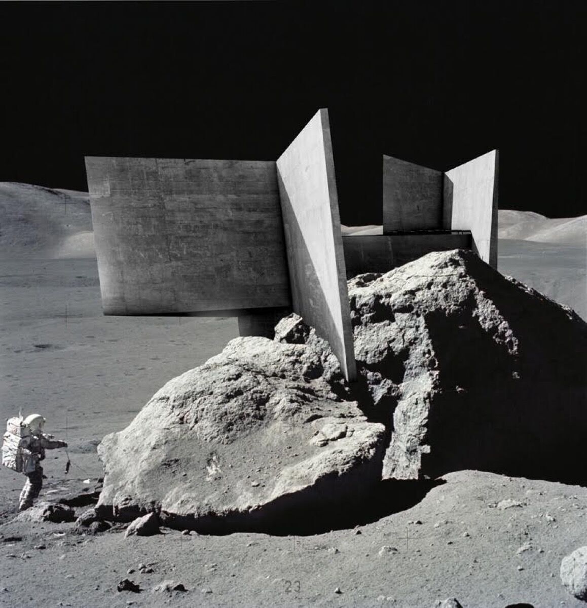 Proposal for a Lunar Temple #1, Brutalist. Image courtesy of NASA/Eugene Cernan, Alex Hogrefe.