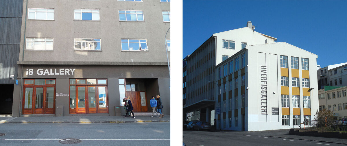 Left: Exterior view of i8 Gallery; Right: Exterior view of Hverfisgalleri. Photos by Casey Lesser.