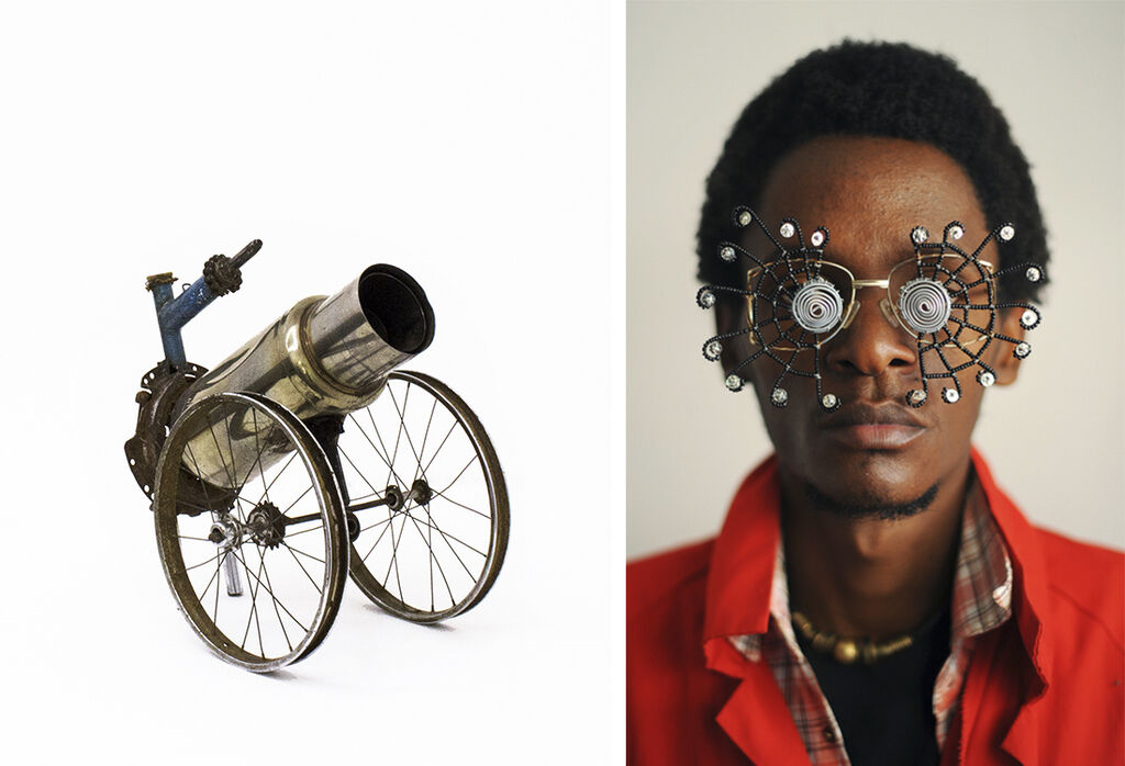 Left: Cyrus Kabiru, Untitled, 2014, from the series Steel and Found Objects, courtesy of SMAC gallery. Right: Cyrus Kabiru, Caribbean Sun, 2012, from the series C-Stunners, courtesy of the Vitra Design Museum.
