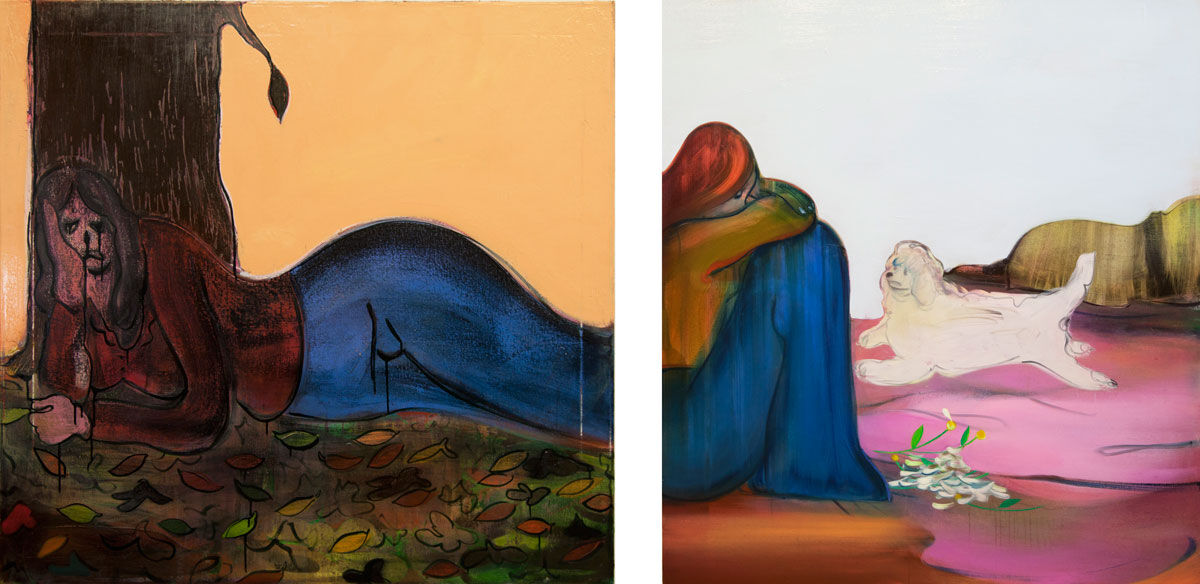 Left: Heidi Hahn, Sadness is a Fulltime Job, 2016; Right: Heidi Hahn, I Take Care of Myself, Piece By Piece, 2016. Images courtesy of the artist and Jack Hanley Gallery.
