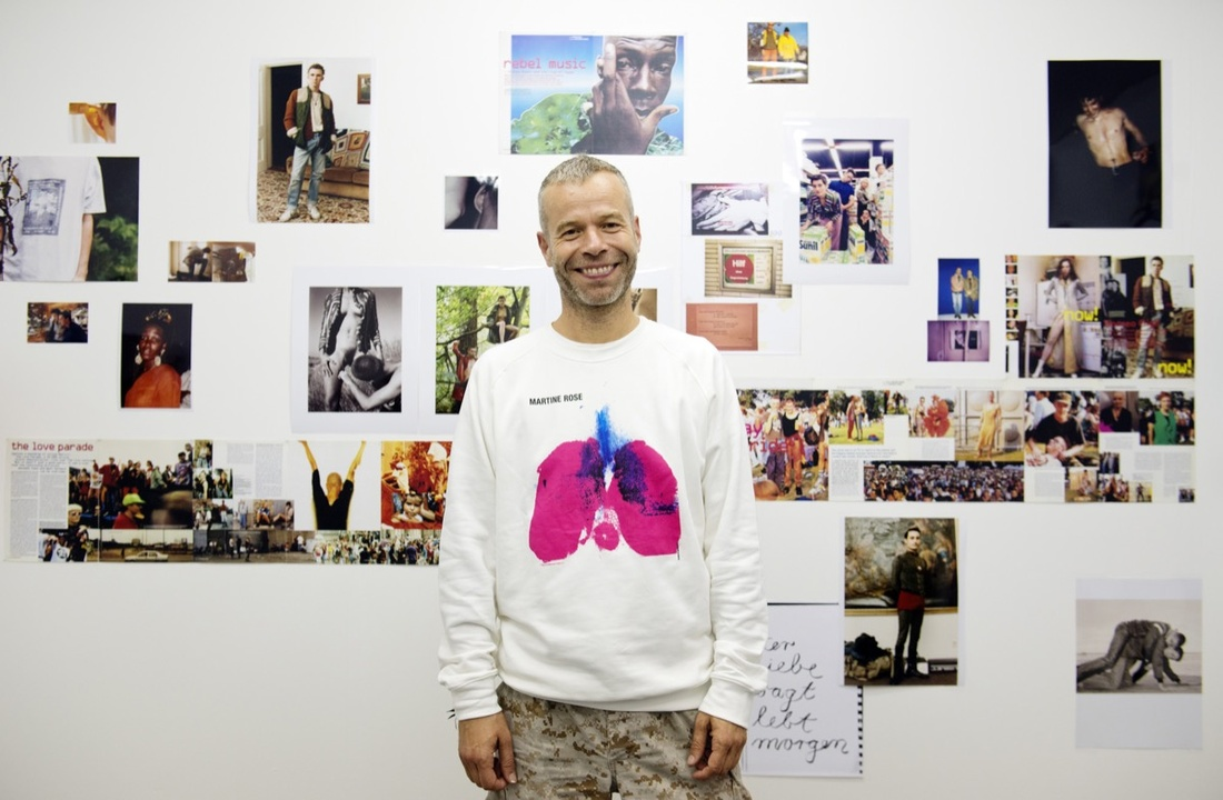 Wolfgang Tillmans with his work at Buchholz & Buchholz, The Nineties, Frieze London, 2016. Photograph by Linda Nylind. Courtesy of Linda Nylind/Frieze.