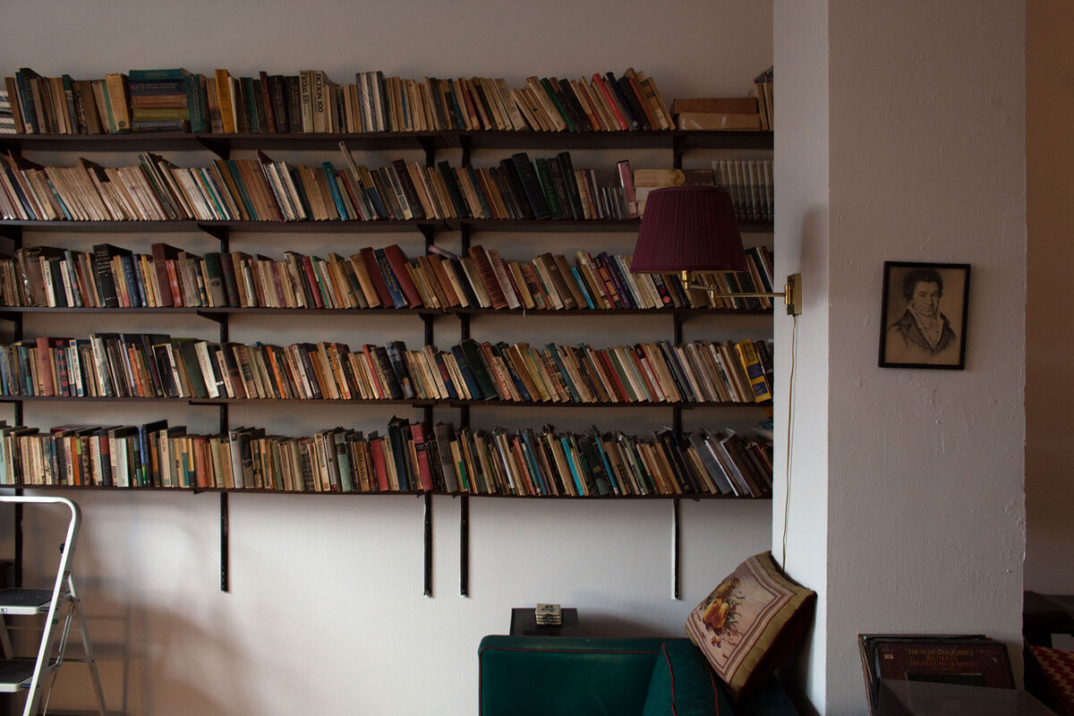 Octogenarian actress-turned-writer Carol Hebald's extensive book collection bounds her living room, which is also her office. She's lived at Westbeth since 1991, and has published a memoir, a novella collection, a novel, and four books of poetry. Photo by Frankie Alduino.