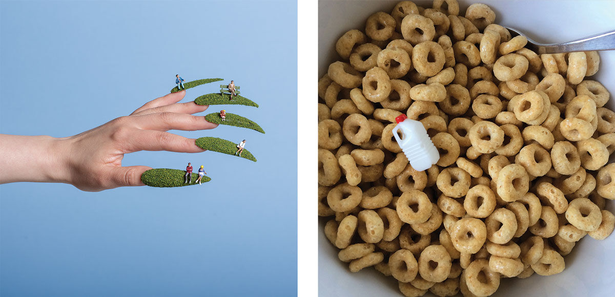 Left: Aleia Murawski, Tiny People Nails, 2015; Right: Aleia Murawski, Short on Milk, 2016. Images courtesy of the artist.