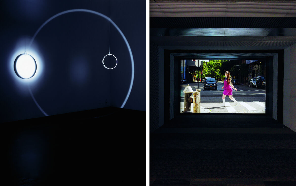 Left: Olafur Eliasson, Your space embracer, 2004. Courtesy Tanya Bonakder Gallery and the artist. Right: Martin Creed, Work No.1701, 2013. Courtesy Gavin Brown, Hauser & Wirth, and the artist