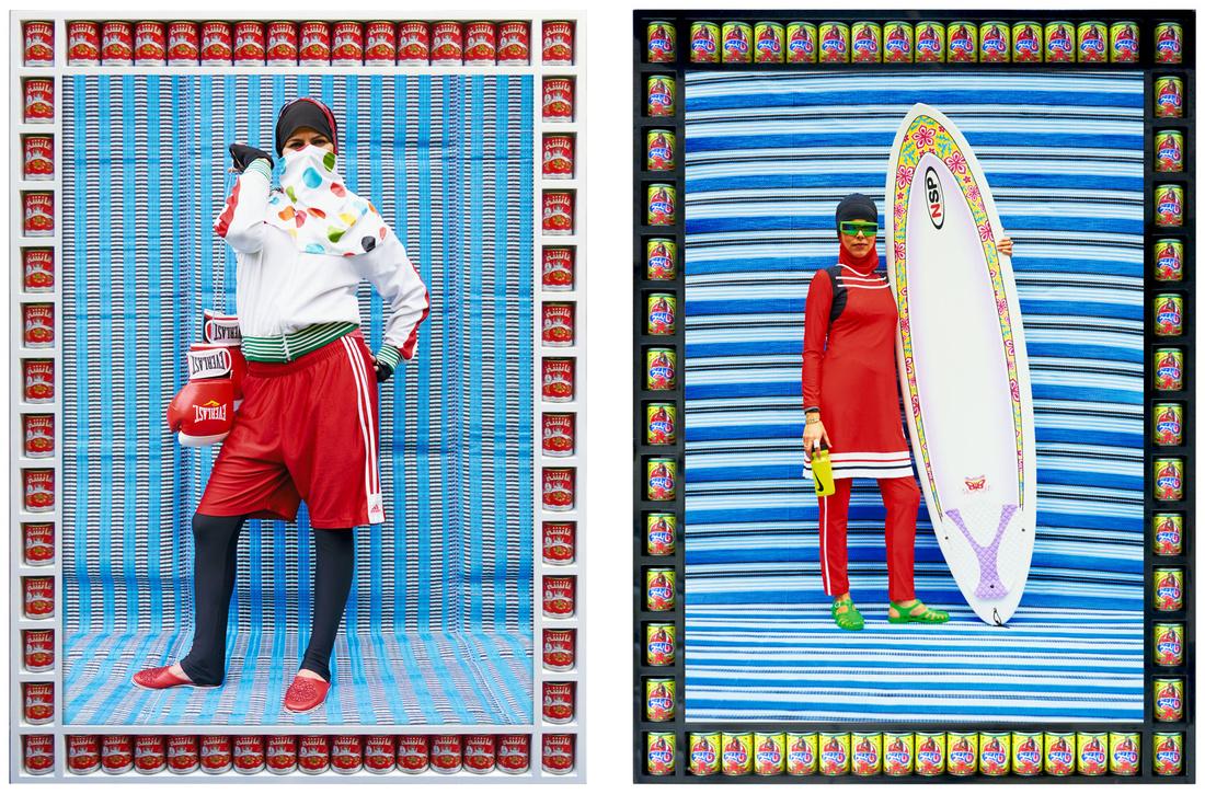 Left:Hassan Hajjaj, Nabila Boxer, 2011; Right: Hassan Hajjaj, Surfer in Red, 2015. Images courtesy of The Third Line.