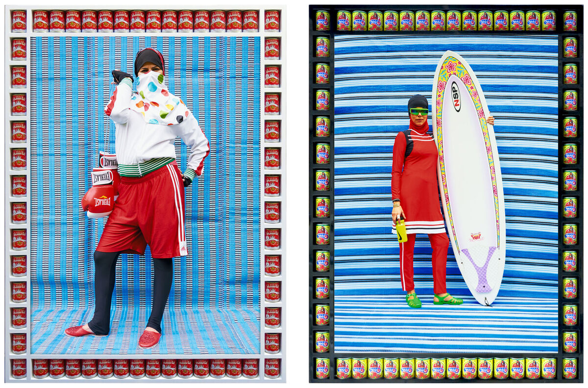 Left: Hassan Hajjaj, Nabila Boxer, 2011; Right: Hassan Hajjaj, Surfer in Red, 2015. Images courtesy of The Third Line.
