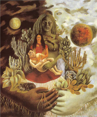 Frieda Kahlo, The Love Embrace of the Universe, the Earth (Mexico), Myself, Diego, and Señor Xolotl, 1949. Image: Wikimedia Commons
