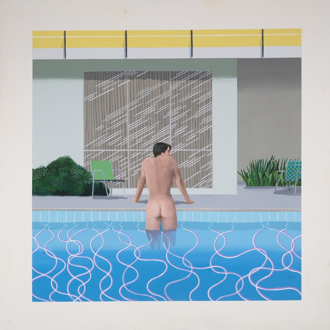David Hockney,Peter Getting Out of Nick's Pool, 1966. © David Hockney. Collection of National Museums Liverpool, Walker Art Gallery. Presented by Sir John Moores 1968. Photo: Richard Schmidt. Image courtesy of Tate.