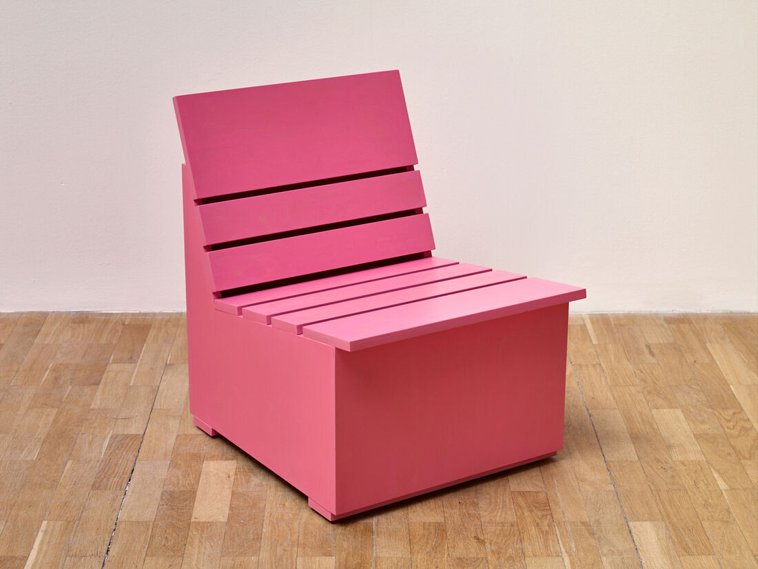 Mary Heilmann Sunny Chair for Whitechapel, (2016). Edition of 12 (available in four colours: pink, mint, green, chartreuse) Painted plywood. Signed, numbered and dated verso, with special plaque.