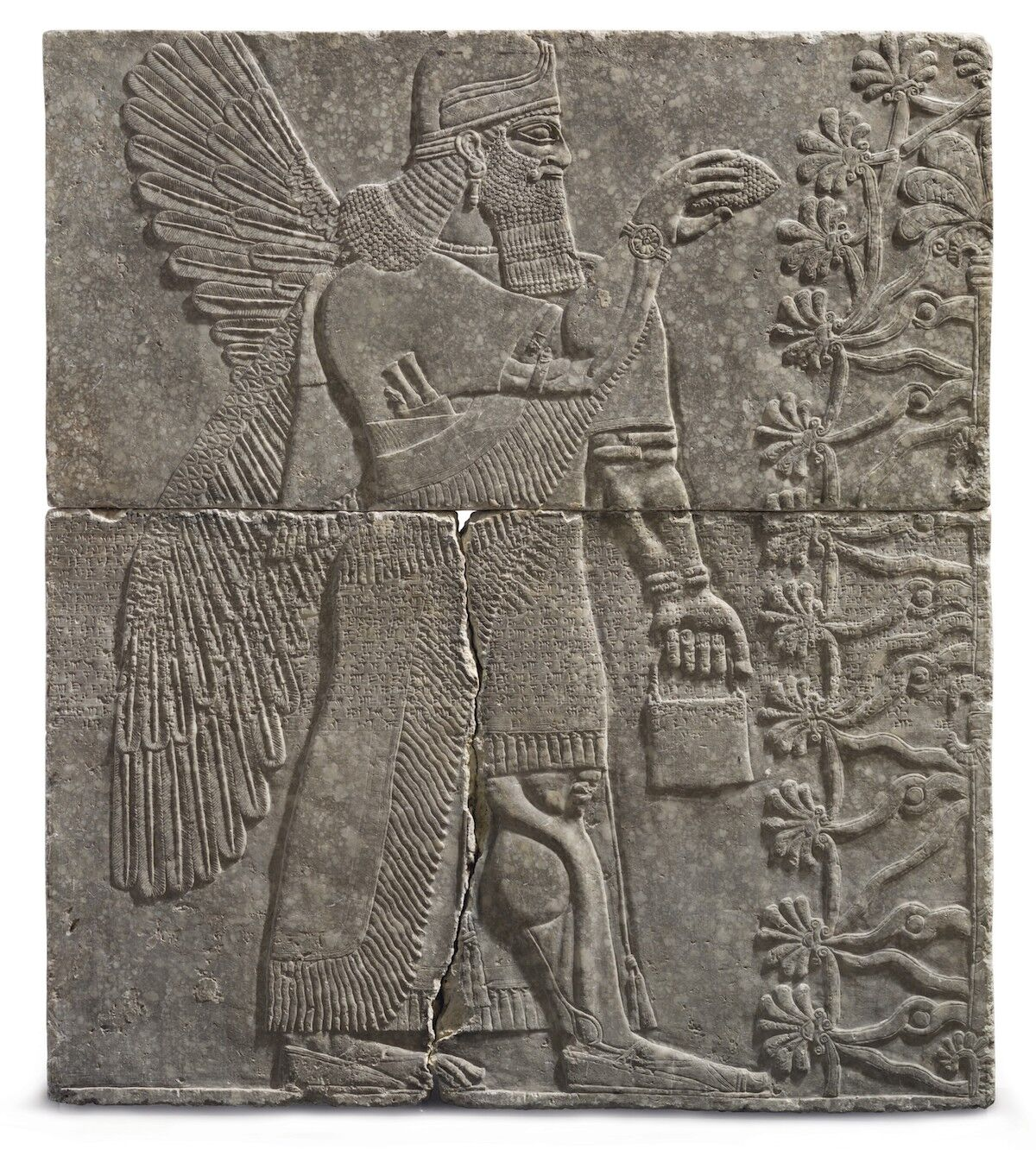 An Assyrian gypsum relief of a Winged Genius, reign of Ashurnasirpal II, circa 883–859 B.C.E. Sold for $30,968,750 at Christie's New York on October 31, 2018. Photo courtesy Christie's Images Ltd. 2018.