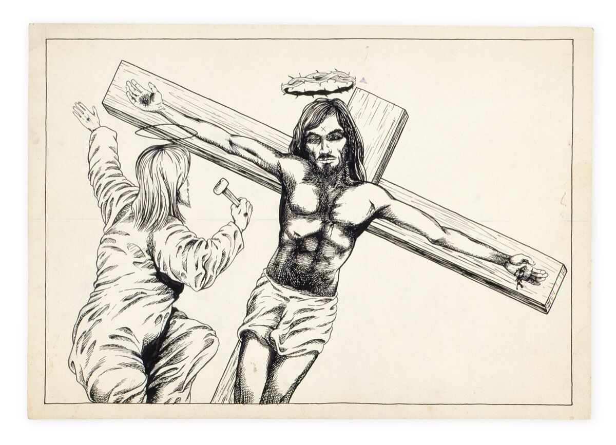 Raymond Pettibon, No Title (Jesus), 1979. Hauser & Wirth Collection, Switzerland. Photo courtesy Archive Hause & Wirth Collection, Switzerland.