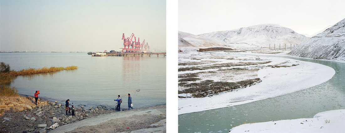 "Left: Y61 6,000km from the river source 19 Nov 2013 from Yan Wang Preston's ""Mother River"" series (2010-2014). ©Yan Wang Preston. Right: Y8 700km from the river source 11 Nov 2013 from Yan Wang Preston's ""Mother River"" series (2010-2014). ©Yan Wang Preston."