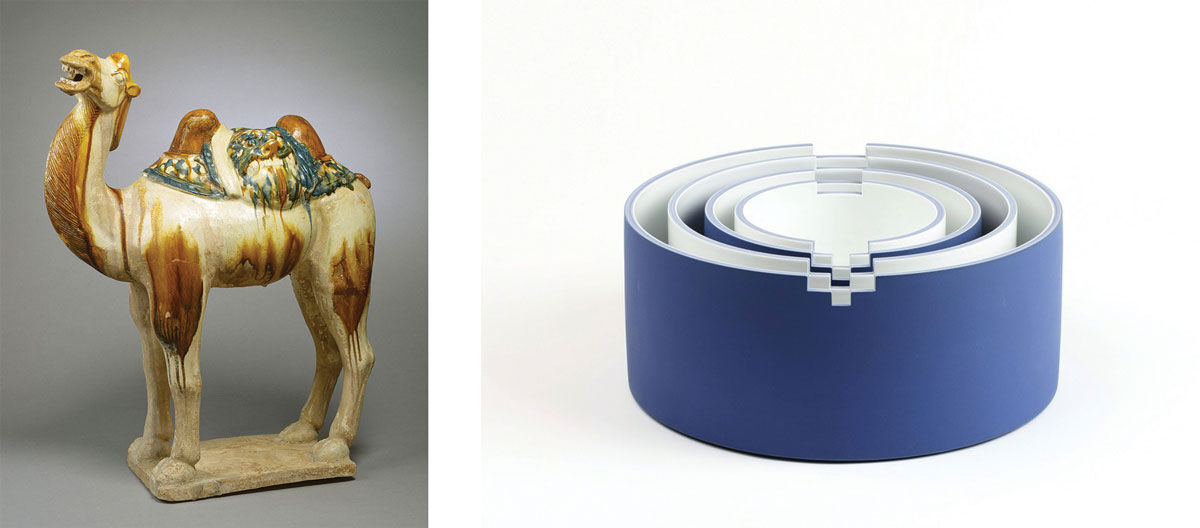 Left: Anonymous (China), Camel (7th century). Image courtesy of Walters Art Museum. Right: Minsoo Lee, +,-, (2013). Image courtesy of Gallery LVS, Seoul.