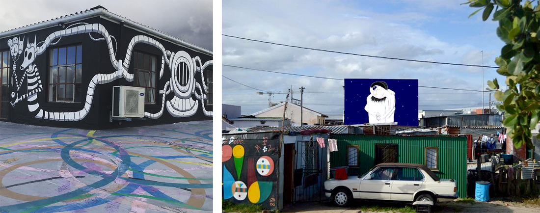 Left:Work by Mr.Mead. Right: Work byJuan Zamora. Courtesy of Side Street Studios.