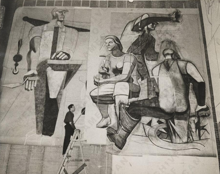 Philip Guston working on a mural for the WPA. Photograph by Robbins. Image via Federal Art Project, Photographic Division, Smithsonian National Archives of American Art.