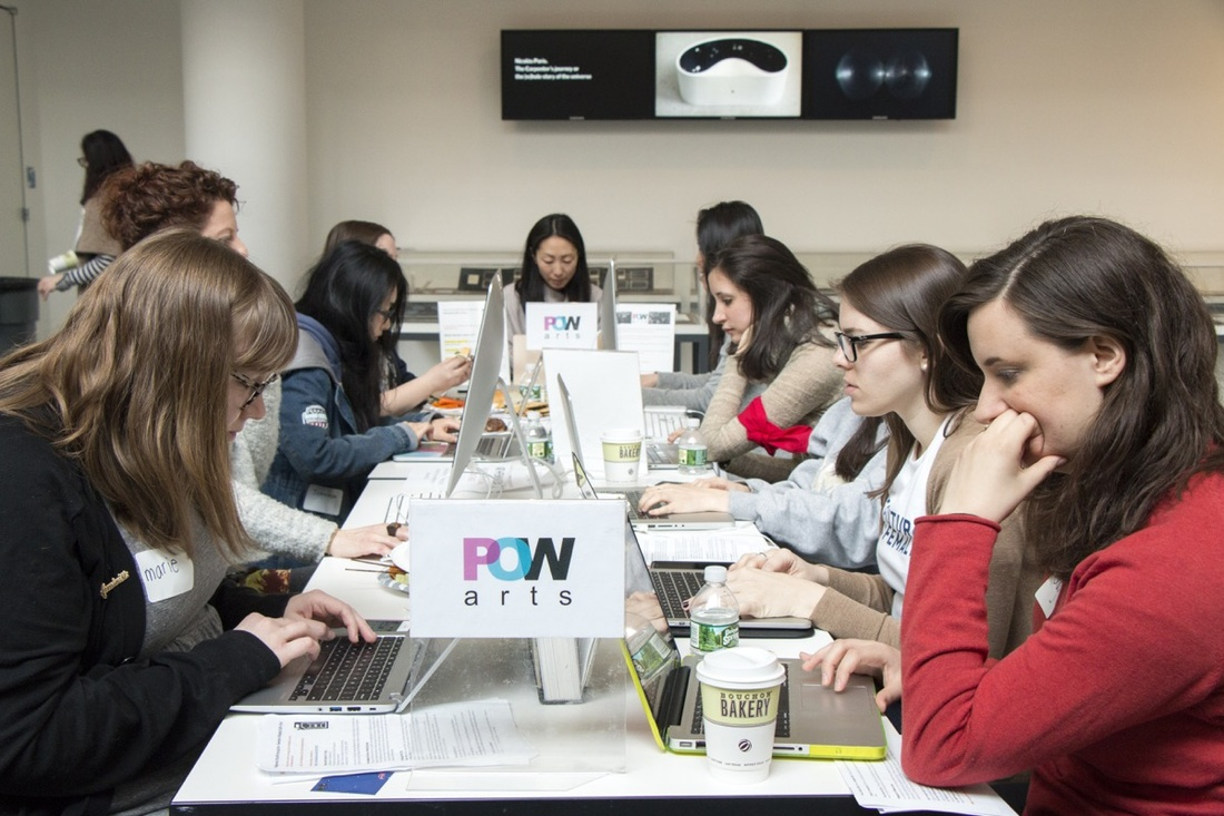Wikipedia Edit-a-thon: Art + Feminism, March 11, 2017. Photo by Manuel Martagon. Courtesy of The Museum of Modern Art, New York.