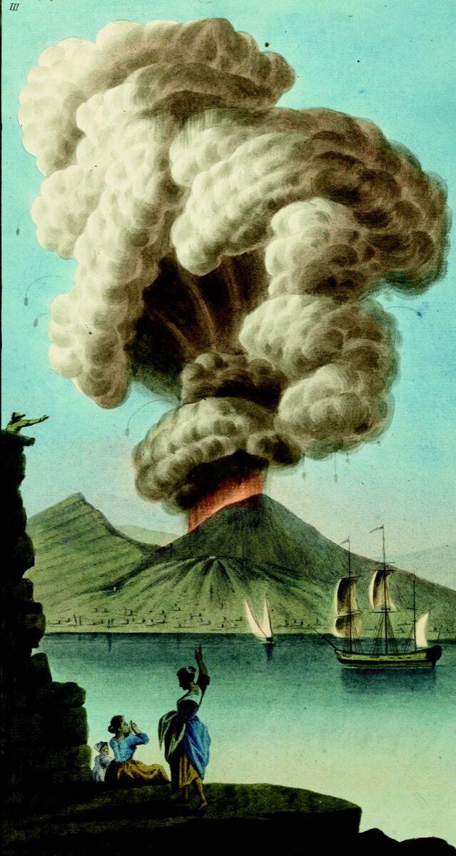 Gouache of Vesuvius by Pietro Fabris, from William Hamilton's Campi Phlegraei, 1779. Courtesy Bodleian Libraries, University of Oxford.