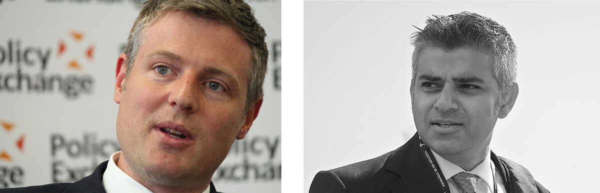 Candidates for London's mayoral election. Left: Zac Goldsmith; Right: Sadiq Khan. Photos via Wikimedia Commons.