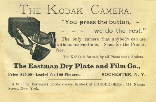 An 1889 Kodak advertisement. Image via Wikimedia Commons.